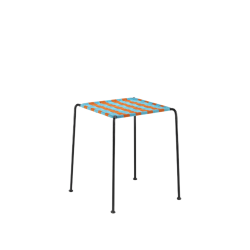 Afro stool - ORANGE & TURQUOISE - India Mahdavi